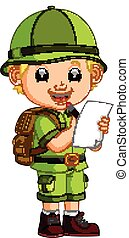 cute hiker boy holding paper