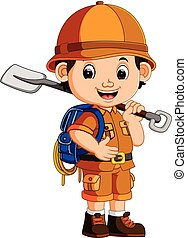 cute hiker boy holding shovel