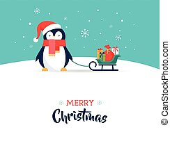 cute, -, hils, glædelig jul, card, pingvin