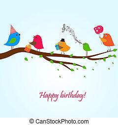 cute, hilsenerne, card, hos, fugle, på, en, svinge
