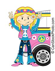 Cute Hippie Girl & Van