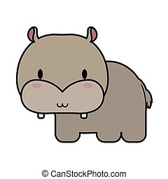 cute hippo baby kawaii, line and fill style icon