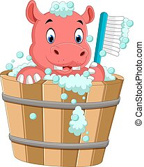 cute hippo bathing time - illustration of cute hippo bathing...