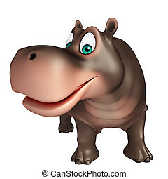 cute Hippo cartoon character - 3d rendered illustration of...