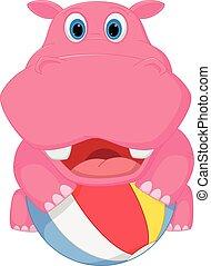 Cute hippo cartoon playing ball - Vector Illustration of...