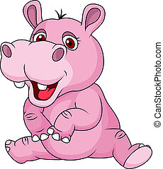 Cute hippo cartoon sitting - Vector illustration of Cute...