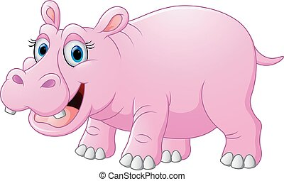 Cute hippo cartoon - vector illustration of Cute hippo...