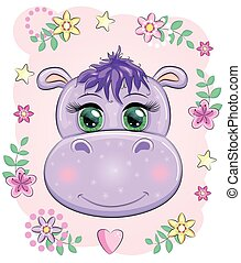 Cute hippo cartoon with beautiful eyes among flowers, hearts. print t-shirts, baby clothes fashion design, baby shower invitation card.