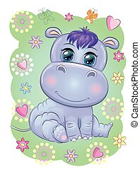 Cute hippo cartoon with beautiful eyes hand-drawn illustration. print t-shirts, baby clothes fashion design