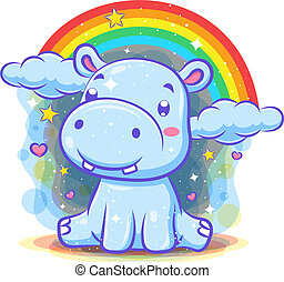 Cute hippo character with rainbow background