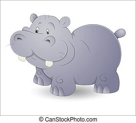 Cute Hippo - Design Art of Cute Cartoon Hippo Vector...