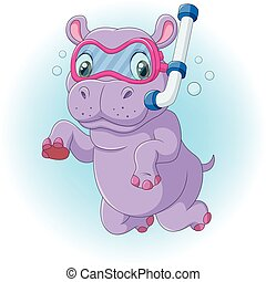 Cute hippo diving - Vector illustration of Cute hippo diving