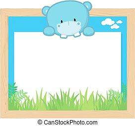 cute hippo frame