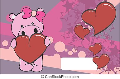 cute hippo girl cartoon valentine
