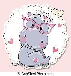 Cute Hippo girl in pink eyeglasses