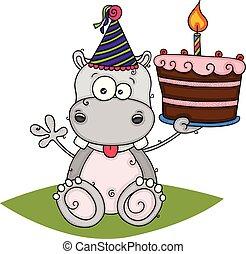 Cute hippo holding a birthday cake