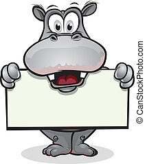 Cute Hippo holding sign - Cute Hippopotamus holding up sign...
