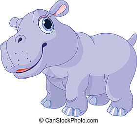 Cute hippo - Illustration of very cute hippo calf