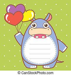 cute hippo of scrapbook background.