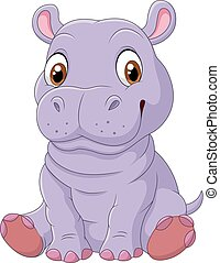 Cute hippo sitting