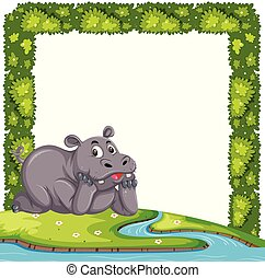Cute hippo with plant frame concept