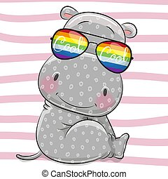 Cute Hippo with sun glasses