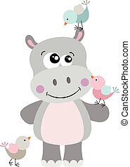 Cute hippo with three birds