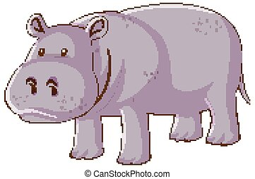 Cute hippopotamus on white background