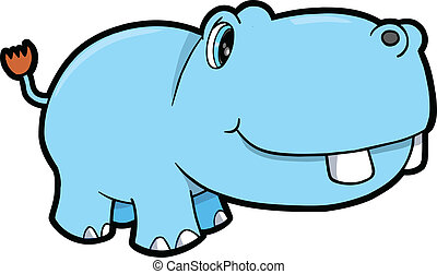 Cute Hippopotamus Safari Animal Vector Illustration Art