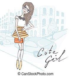 Cute Hipster Fashion Girl