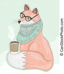 Cute hipster fox with glasses drinking hot coffee. Winter...