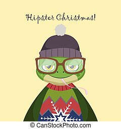 Cute hipster frog with an ugly Christmas sweater