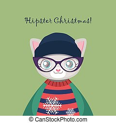 Cute hipster kitty cat with an ugly Christmas sweater