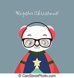 Cute hipster polar bear with an ugly Christmas sweater
