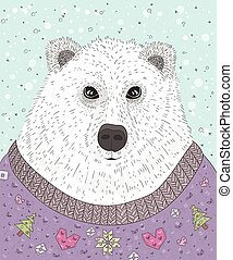 Cute hipster polar bear