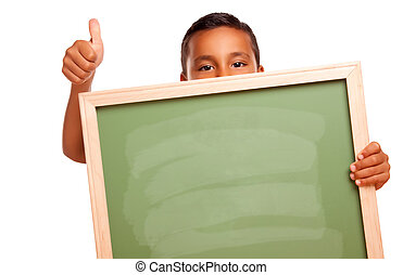Cute Hispanic Boy Holding Blank Chalkboard and Thumbs Up...