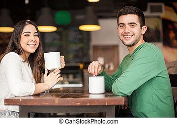 Cute Hispanic couple on a date