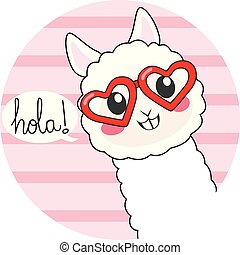 Cute Hola Llama - Cute llama wearing heart shaped glasses ...
