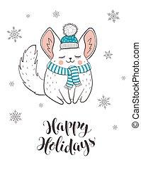 Cute holidays greeting card - Happy holidays greeting card...