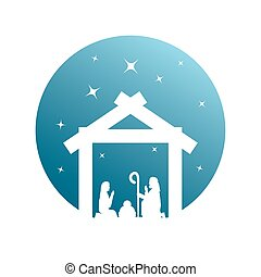 cute holy family manger characters silhouette vector illustration design