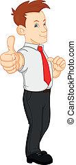 cute, homem negócios, cima, polegares