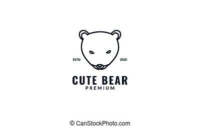 cute honey bear or polar bear head line animal design