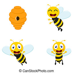 Cute Honey Bee cartoon collection set