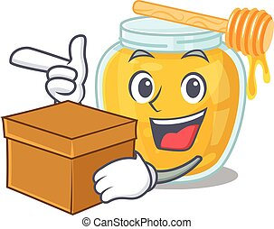 Cute honey cartoon character having a box