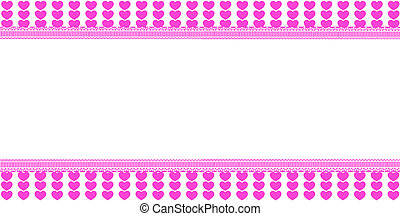 Cute horizontal template with pink lined hearts pattern,