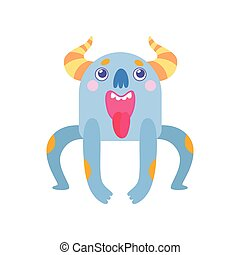 Cute Horned Monster with Open Mouth and Sticking Out Tongue, Funny Alien Cartoon Character Fantastic Creature Vector Illustration