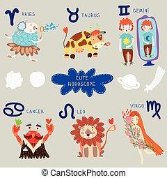 Cute horoscope. Zodiac set. Aries, taurus, gemini, cancer, leo, virgo