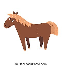 Cute Horse Cartoon Flat Vector Sticker or Icon