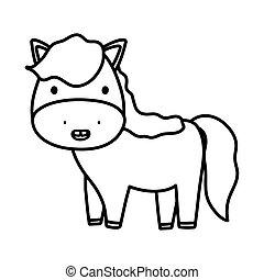 cute horse domestic farm animal cartoon thick line