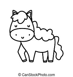 cute horse livestock farm animal cartoon thick line